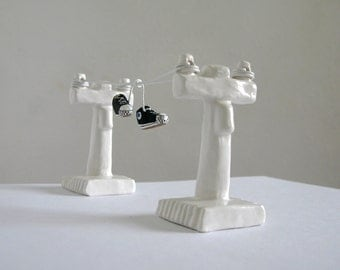 Shoes on a Wire  - Miniature Urban Scene Sculpture -