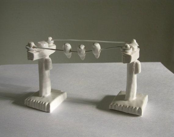 Birds on a Wire  - Miniature Ceramic Telephone Pole Sculpture