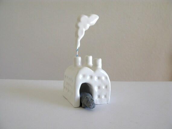 Hippo Factory - Miniature Ceramic Sculpture - hippopotamus - small ceramic factory