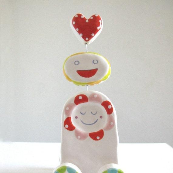 Rolling Valentine - Ceramic Sculpture - LAST ONE