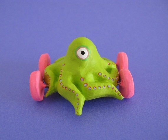 Green One Eyed Octopus on Wheels - Mini Sculpture - LAST ONE