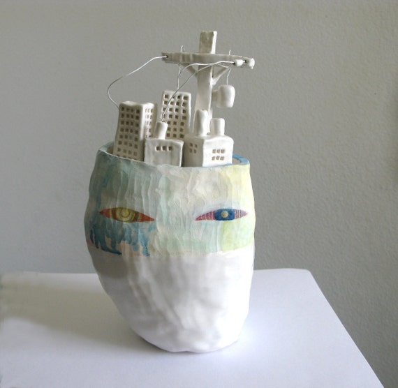 RESERVED -Ceramic Sculpture - City Head - Mixed Media Art - cityscape face