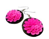 SALE Fancy Lotus Pink and Black Earrings  Regular Price 29.99