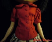 Blythe red button collared short sleeve blouse top