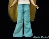 Blythe sky blue corduroy flare pants with front pockets