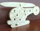 Helicopter Count-To-Ten - Childrens Wood Puzzle Game - New Toy - Hand-Made - Child-Safe