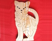 CAT WITH BOW- Childrens Wood Puzzle Game - New Toy - Hand Made - Child Safe