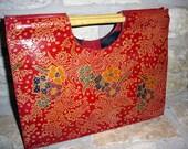 1980s vintage bohemian stamped red leather floral clutch handbag