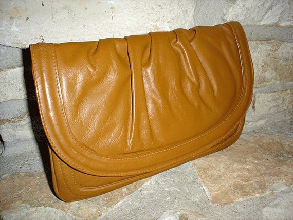 1970s vintage orange tan leather flap clutch bag - made in egypt