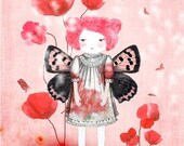 Lady butterfly in love - print