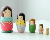 Pastel Muniecas nesting dolls - OOAK