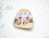 Butterflies - Matryoshka pin brooch