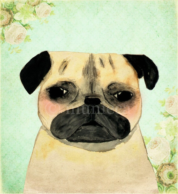 Pug shabby chic portrait - 5x7 print