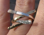Hammered Nails Sterling Silver and Gold Stacking Ring Set, Hand Forged - Christian Rings - PIERCED Collection