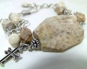 Christian Jewelry - Sterling Silver Sculpture Beaded Bracelet - Fossil Coral, Brown Jasper, Cream Stone, Black, Cross Charm - CORNERSTONE