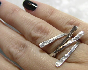 Christian Nail Rings - Antiqued and Polished Sterling Silver Stacking Ring Set - Hand Forged, Hammered Finish - PIERCED Collection