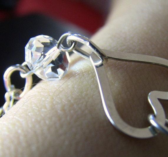 Sterling Silver Heart Bracelet - Sparkling Clear Swarovski Crystal, Heart Chain - Christian Jewelry - Abundance of the HEART