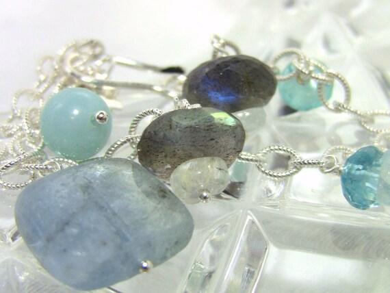 Aqua Blue Grey Stone Charm Bracelet - Christian Jewelry - Sterling Silver Chain, Aquamarine, Labradorite, Silver Cross - Living Water