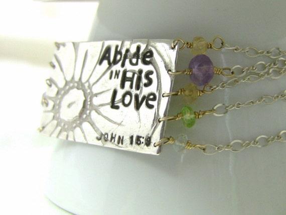 Christian Love Cuff Bracelet, Fine Silver, Gold Flower Chain Bracelet, Pastel Gemstones, One-of-a-Kind - Summer of LOVE Collection
