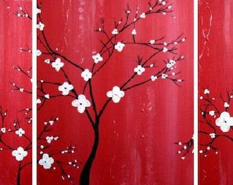 Japanese Inspired Triptych Painting Artwork Wall Hanging Modern Cherry Blossom Canvas Original Made To Order