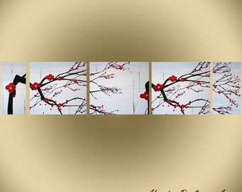 Original Modern Landscape Canvas Painting White Red Blue Grey Flowers Nature Multi Panel Set by Heather Lange Made To Order