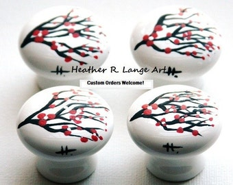 Cherry Blossom Painted Drawer Knobs Pulls White Red Flowers Branches House Home Decor Furniture Art Modern Landscape Design Made To Order