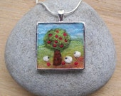 Reserved - Sheep Pendant with Apple Tree