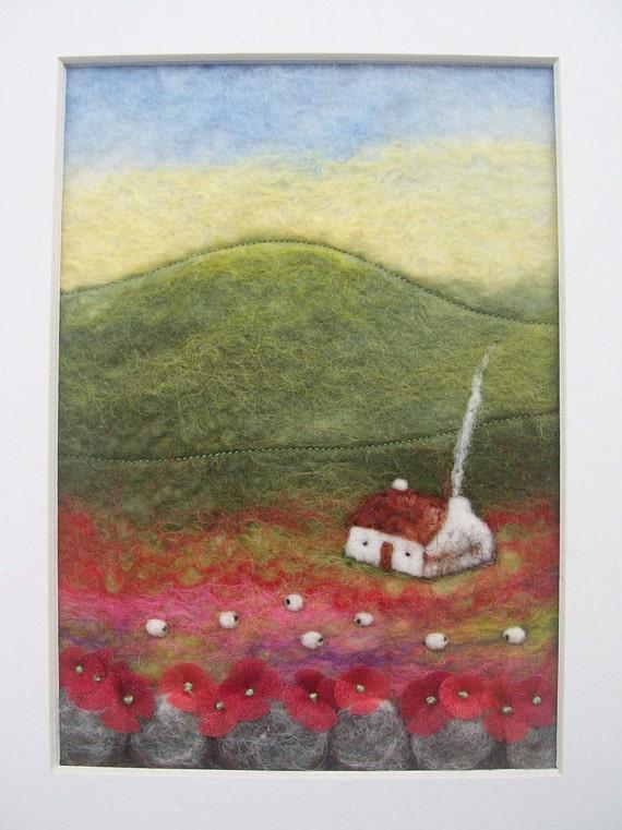 Red Poppy Cottage Felt Landscape