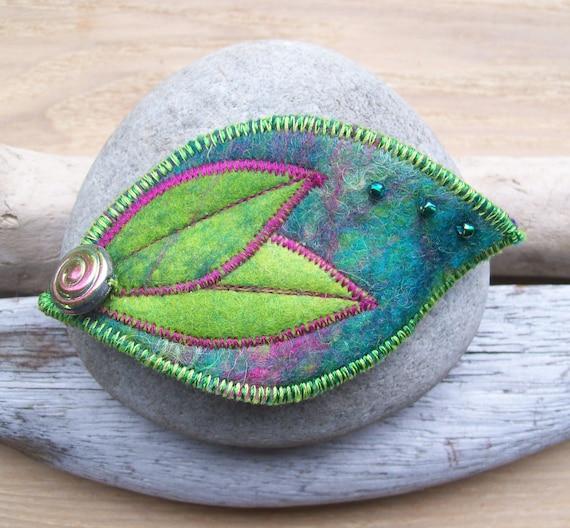 Brooch Pin Green and Pink Felt Leaf