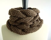 Black Friday/Cyber Monday Free Shipping: Chunky Knit Cowl in Chocolate Merino for Men and Women