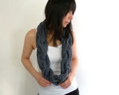 Chunky Knit  Infinity Scarf in Gray Merino Wool