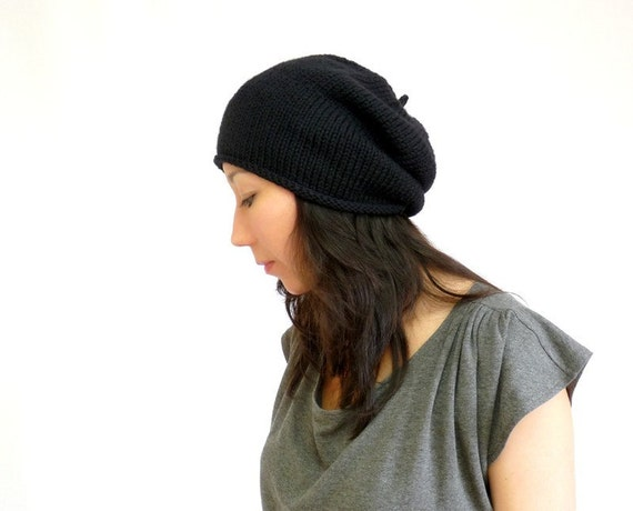 Made in France Merino Beret Slouch Hat. Ink Black. Urban Paris Style. Spring / Fall / Winter Fashion. Hand Knit in France.