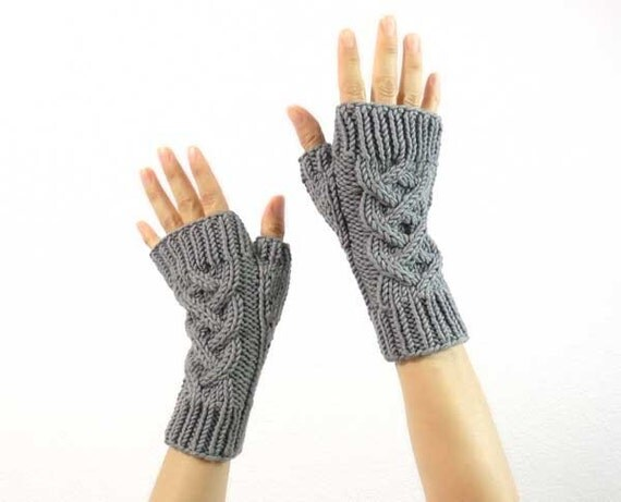 Last Pair: Celtic Cable Fingerless Mitts in Gray Cashmere Merino