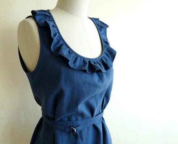 Tuileries Sleeveless Linen Dress Size M - Indigo