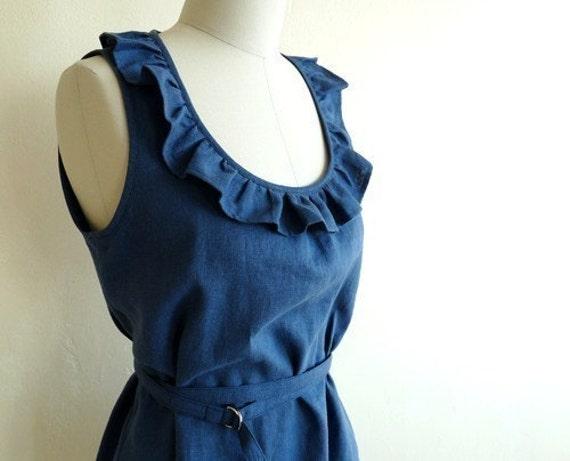Tuileries Sleeveless Linen Dress  - Indigo