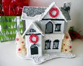 RESERVED FOR BECKY Sugary Sweet Christmas Cottage- Red and Black