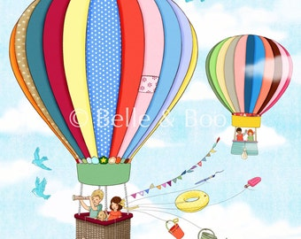 Hot air balloon print, Nursery art print, Up, Up and Away Fine Art Print