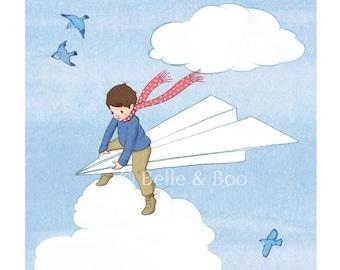 Boys art print, airplane, boys nursey art, giclee print, baby bedroom, vintage childrens art, vintage illustrations, My Paper Plane