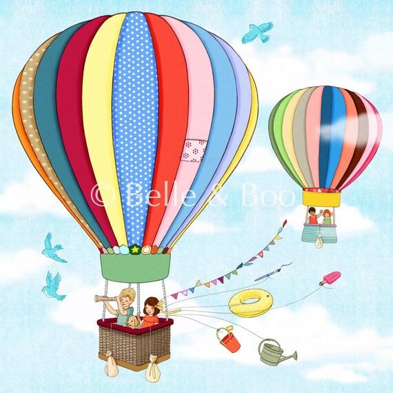 Hot air balloon print, Nursery art print, Up, Up and Away Fine Art Print