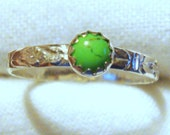 Green Gaspeite Ring - 5mm stone, 3mm band Sterling Silver from eco friendly sources - Custom Size