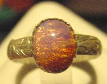 Fairy Fire Wide leafy ring - Custom size - Custom vintage stone - recycled Sterling Silver