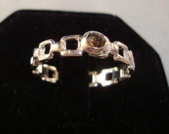 Ring Smokey Linky Slinky - reclaimed/recycled .925 sterling silver November birthstone custom made sized or 10