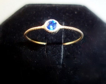 Bright AA quality blue Sapphire in 10K gold and sterling silver ring - custom size - Fair Trade, eco friendly and conflict free