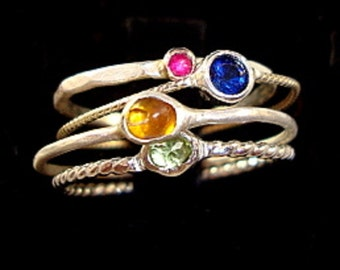 Stack of jewels in 10K gold and sterling silver 4 rings - custom size - Fair Trade, earth friendly and conflict free