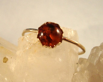 Baltic Amber Ring -  recycled 14k gold filled or eco-friendly reclaimed .925 Sterling silver - Custom size