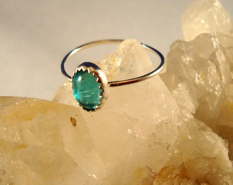 Aqua blue (like Swiss blue topaz color) vintage Swarovski stone in new Ring -  recycled sterling silver -Custom made in your size