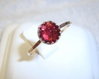 Raspberry Garnet ring  in silver on gold filled eco-friendly recycled sources - custom made in your size - January Birthstone