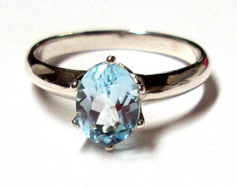Topaz Ring -  Sky Blue Topaz in recycled hammered Sterling Silver- Custom made in your Size