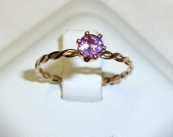 Alexandrite Ring color change violet to pink solitaire -solid Gold, Gold filled,  or sterling silver - Custom made any Size -prong 1/4 ct
