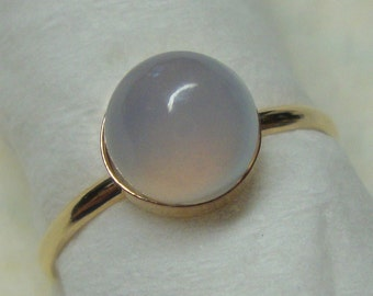 Ring misty lavender blue chalcedony set in solid 14k gold- Custom made in your Size